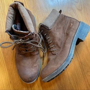 Rocket Dog Faux Suede Brown Lace-up Booties